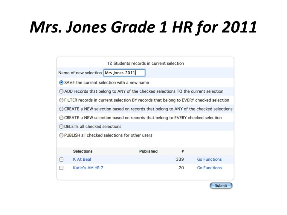 Mrs. Jones Grade 1 HR for 2011