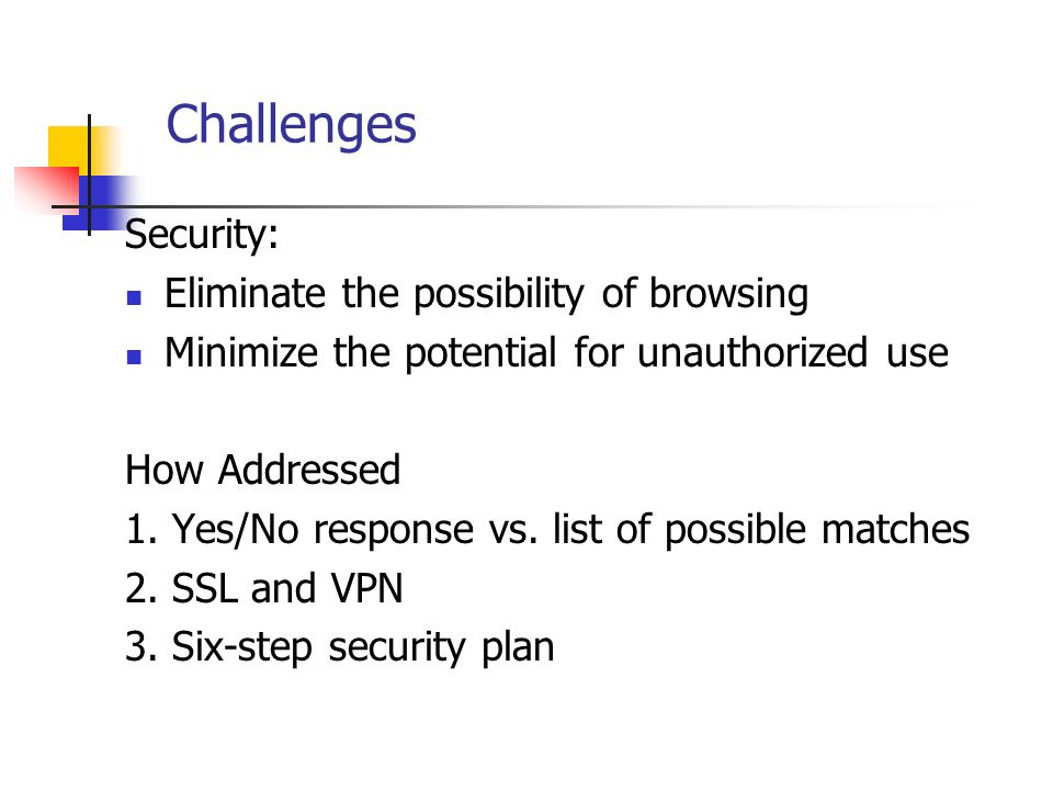 Challenges Security: Eliminate the possibility of browsing Minimize the potential for unauthorized use How Addressed 1.