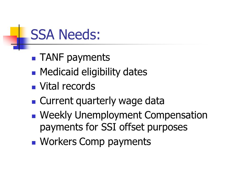 SSA Needs: TANF payments Medicaid eligibility dates Vital records Current quarterly wage data Weekly Unemployment Compensation payments for SSI offset purposes Workers Comp payments