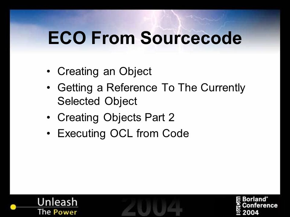ECO From Sourcecode Creating an Object Getting a Reference To The Currently Selected Object Creating Objects Part 2 Executing OCL from Code