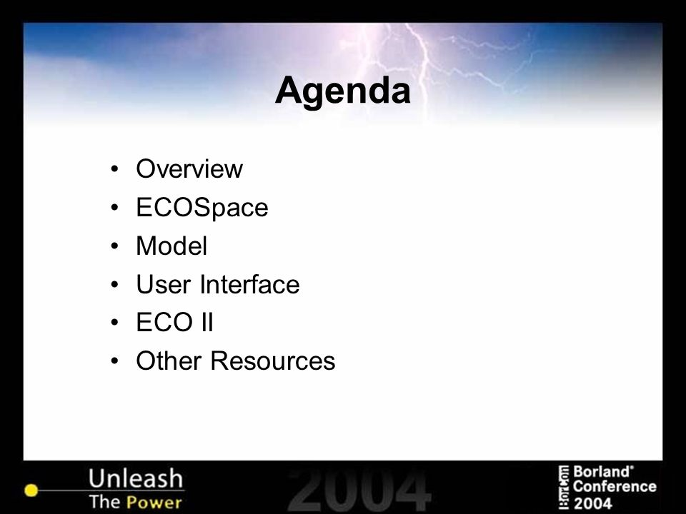 Agenda Overview ECOSpace Model User Interface ECO II Other Resources