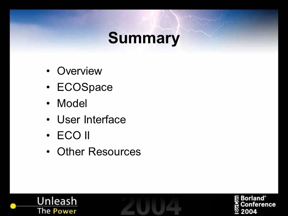 Summary Overview ECOSpace Model User Interface ECO II Other Resources