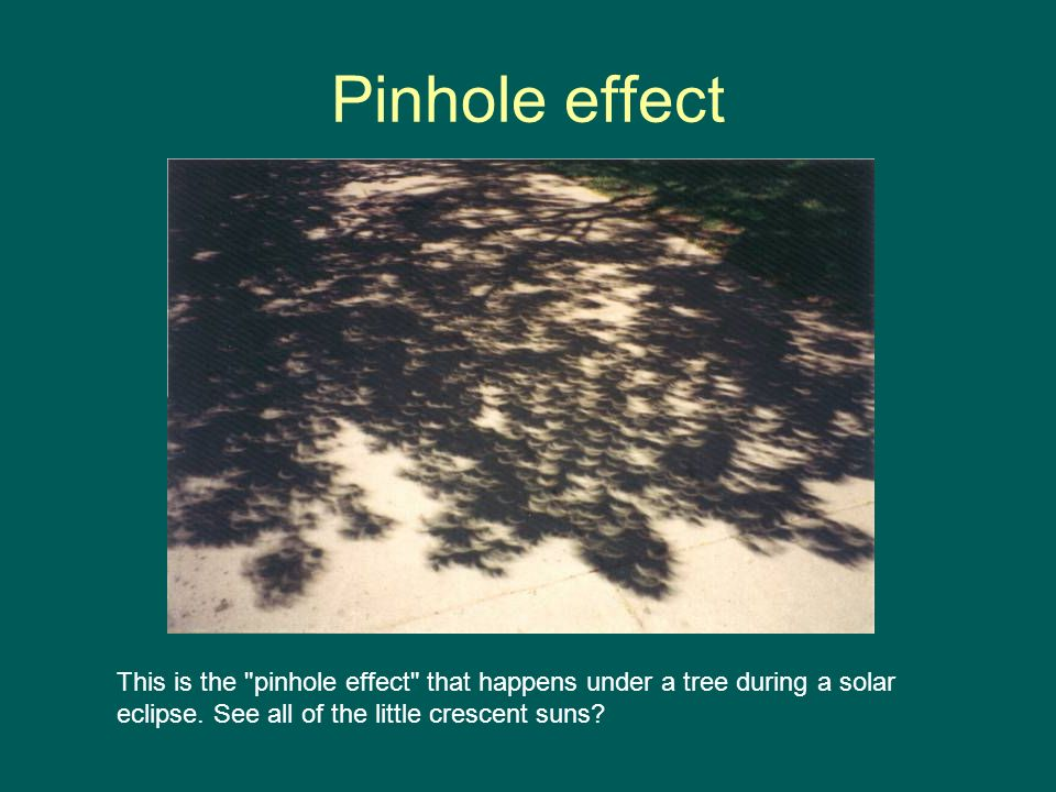 Pinhole effect This is the