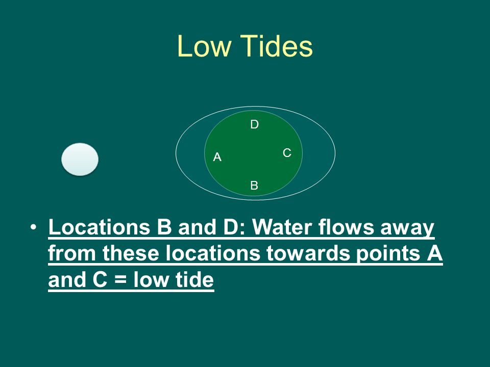 Low Tides Locations B and D: Water flows away from these locations towards points A and C = low tide C B D A