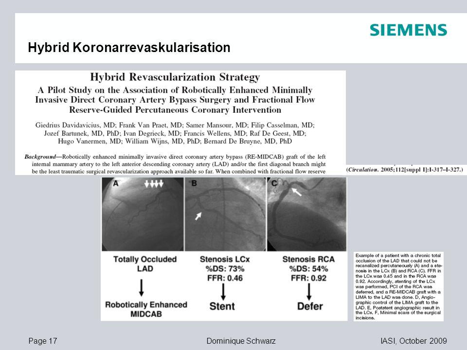 Page 17IASI, October 2009Dominique Schwarz 11,20 8,80 5,5,1 4,4 1,2 1,6 8,0 8,6 11,60 6,71 11,89 Hybrid Koronarrevaskularisation