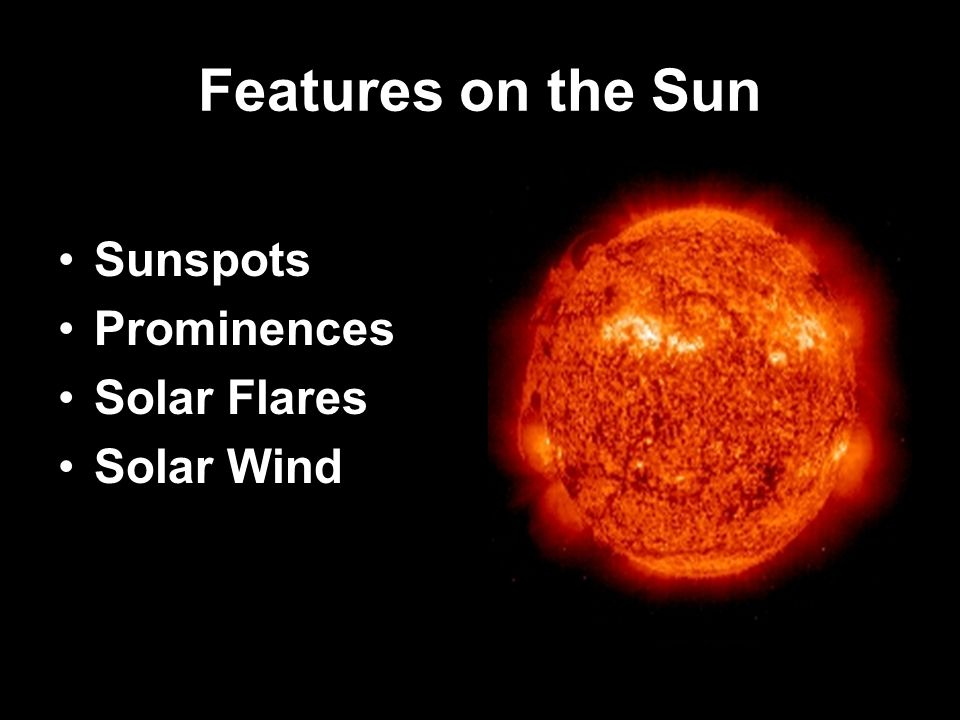 Features on the Sun Sunspots Prominences Solar Flares Solar Wind