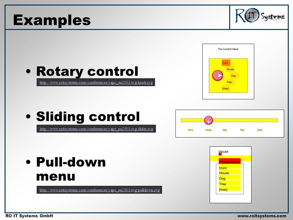 Copyright 2001 RO IT Systems GmbH RO IT Systems GmbHwww.roitsystems.com Examples Rotary control Sliding control Pull-down menu http://www.roitsystems.