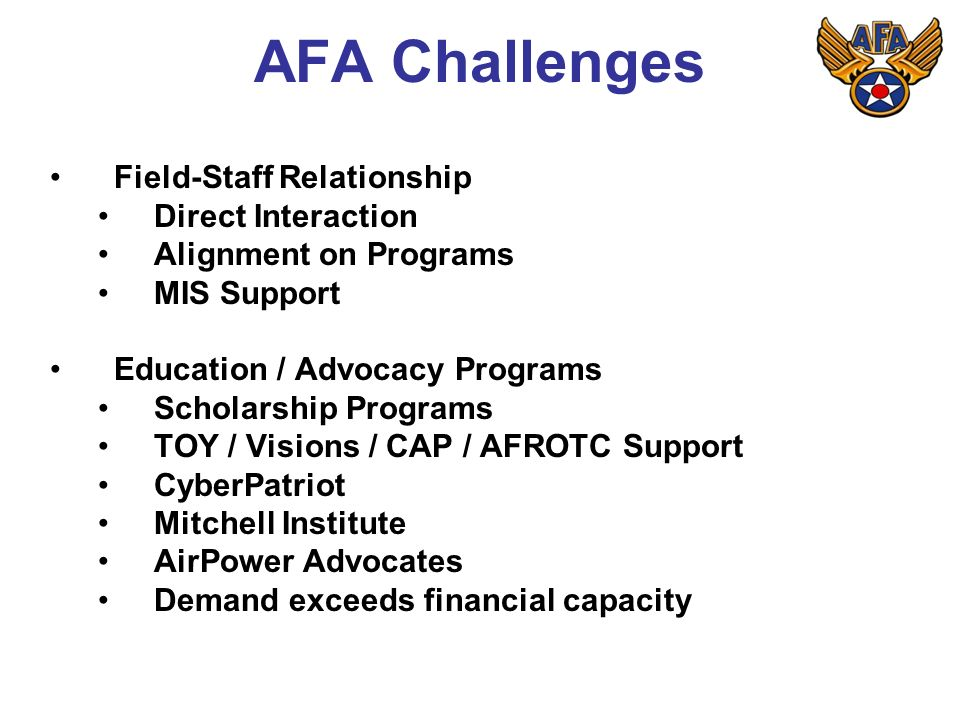 AFA Challenges Field-Staff Relationship Direct Interaction Alignment on Programs MIS Support Education / Advocacy Programs Scholarship Programs TOY / Visions / CAP / AFROTC Support CyberPatriot Mitchell Institute AirPower Advocates Demand exceeds financial capacity