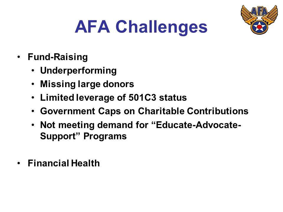AFA Challenges Fund-Raising Underperforming Missing large donors Limited leverage of 501C3 status Government Caps on Charitable Contributions Not meeting demand for Educate-Advocate- Support Programs Financial Health
