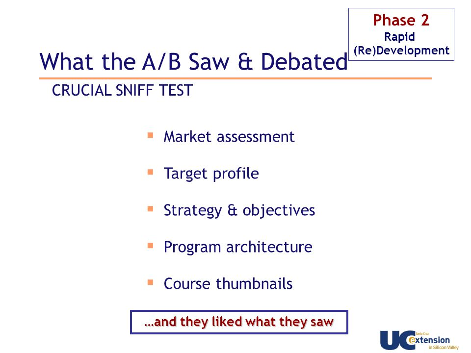 © 2008 James Desrosier Phase 2 Rapid (Re)Development Market assessment Target profile Strategy & objectives Program architecture Course thumbnails CRUCIAL SNIFF TEST …and they liked what they saw What the A/B Saw & Debated