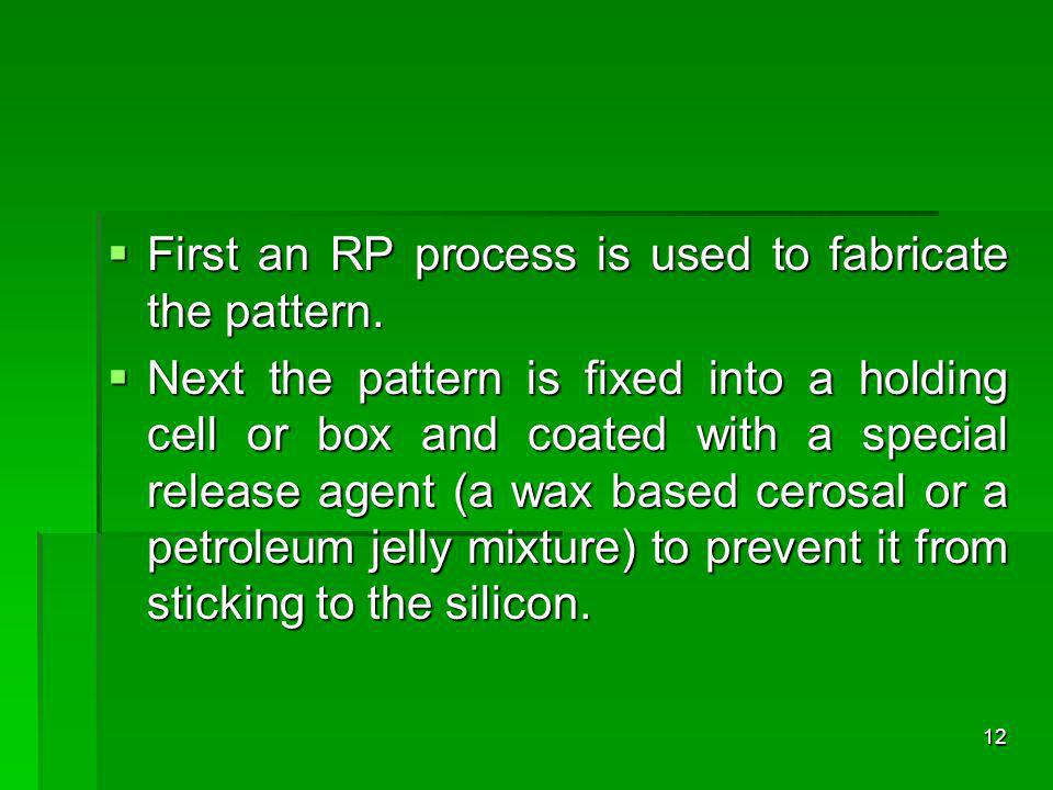 First an RP process is used to fabricate the pattern. First an RP process is used to fabricate the pattern. Next the pattern is fixed into a holding c