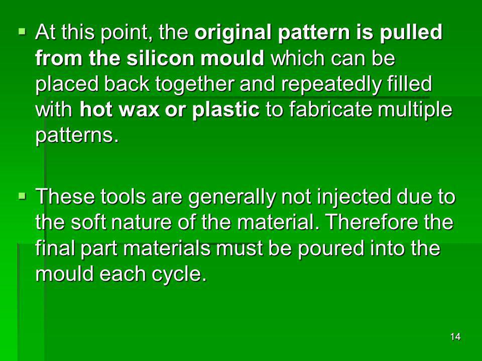 At this point, the original pattern is pulled from the silicon mould which can be placed back together and repeatedly filled with hot wax or plastic t