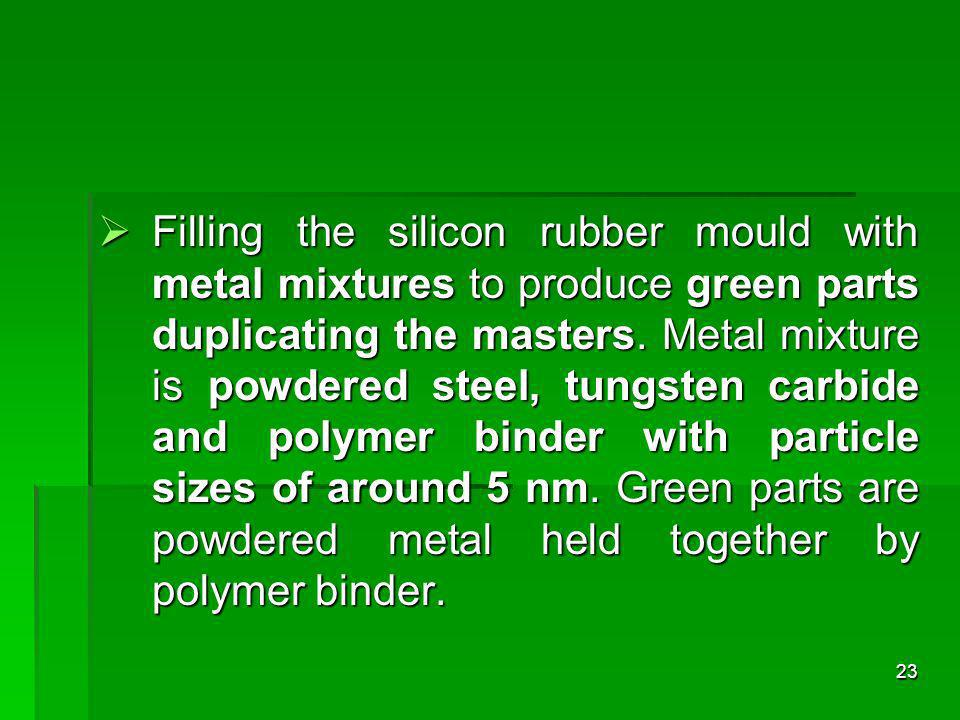 Filling the silicon rubber mould with metal mixtures to produce green parts duplicating the masters. Metal mixture is powdered steel, tungsten carbide