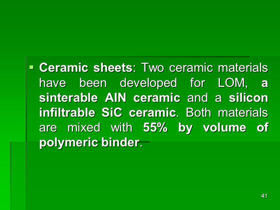 Ceramic sheets: Two ceramic materials have been developed for LOM, a sinterable AIN ceramic and a silicon infiltrable SiC ceramic. Both materials are