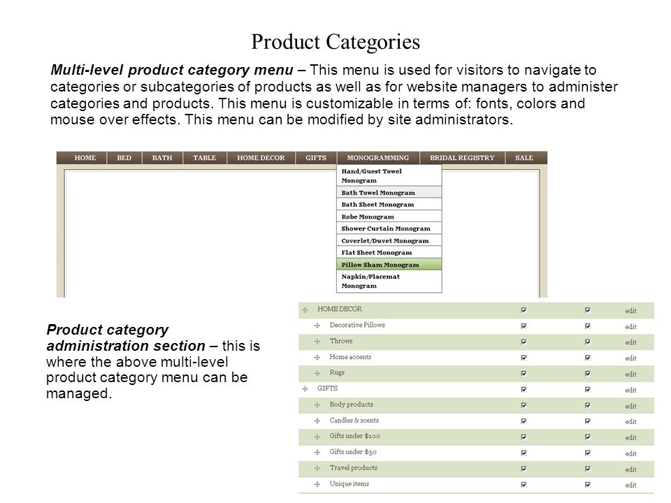 Product Categories Multi-level product category menu – This menu is used for visitors to navigate to categories or subcategories of products as well as for website managers to administer categories and products.