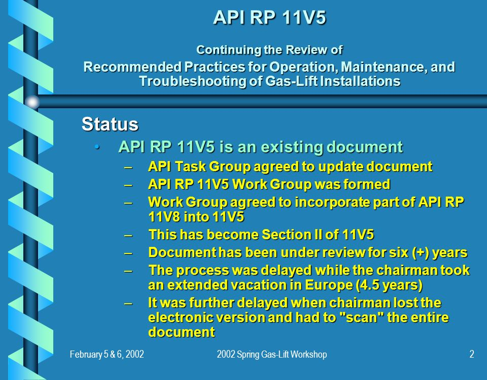 February 5 & 6, 20022002 Spring Gas-Lift Workshop2 API RP 11V5 Continuing the Review of Recommended Practices for Operation, Maintenance, and Troubles