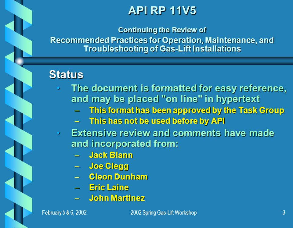 February 5 & 6, 20022002 Spring Gas-Lift Workshop3 API RP 11V5 Continuing the Review of Recommended Practices for Operation, Maintenance, and Troubles