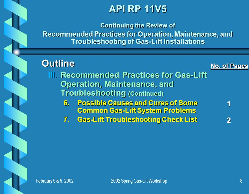 February 5 & 6, 20022002 Spring Gas-Lift Workshop8 API RP 11V5 Continuing the Review of Recommended Practices for Operation, Maintenance, and Troubles