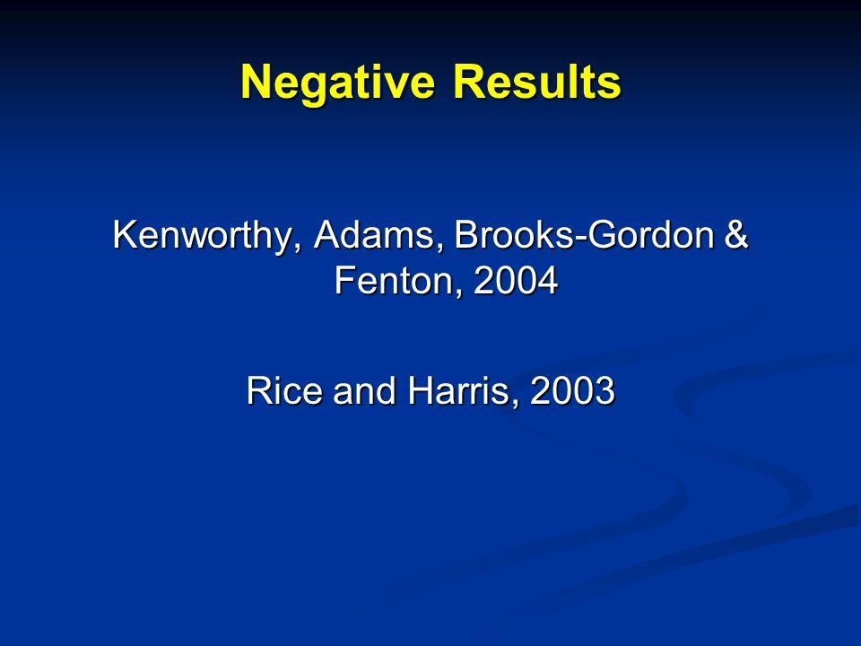 Negative Results Kenworthy, Adams, Brooks-Gordon & Fenton, 2004 Rice and Harris, 2003