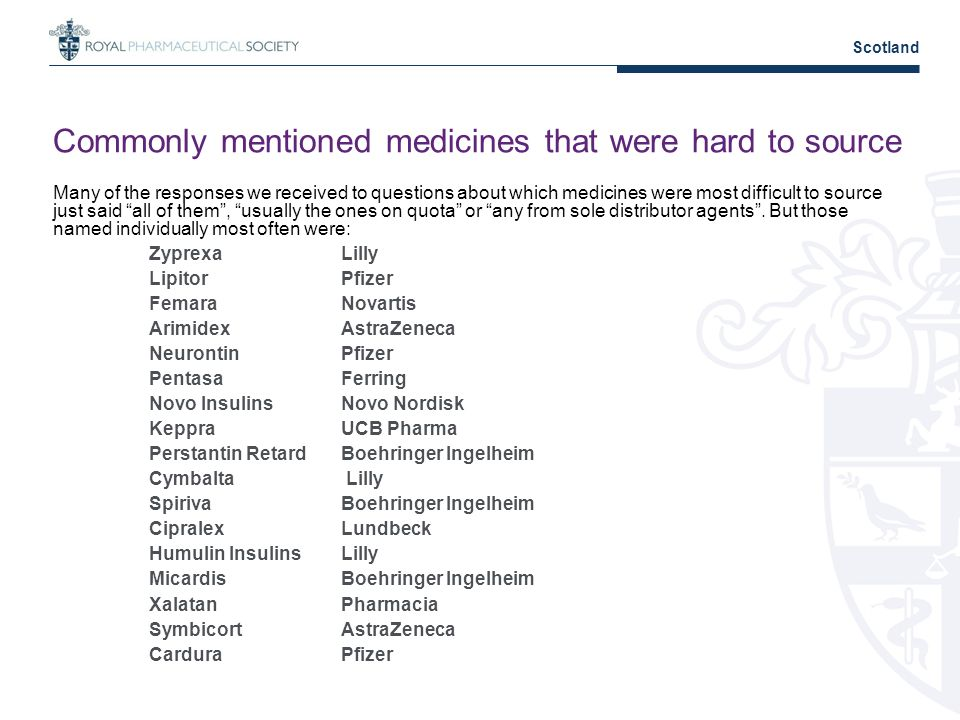 Commonly mentioned medicines that were hard to source Many of the responses we received to questions about which medicines were most difficult to source just said all of them, usually the ones on quota or any from sole distributor agents.