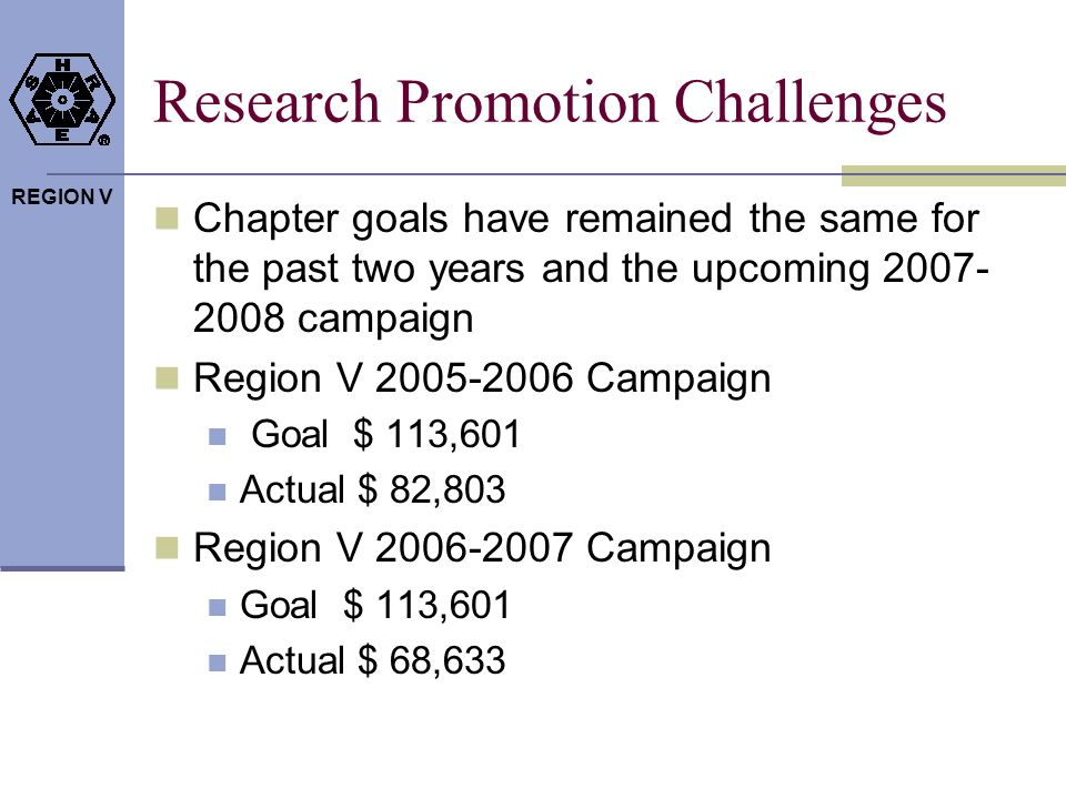 REGION V Research Promotion Challenges Chapter goals have remained the same for the past two years and the upcoming 2007- 2008 campaign Region V 2005-