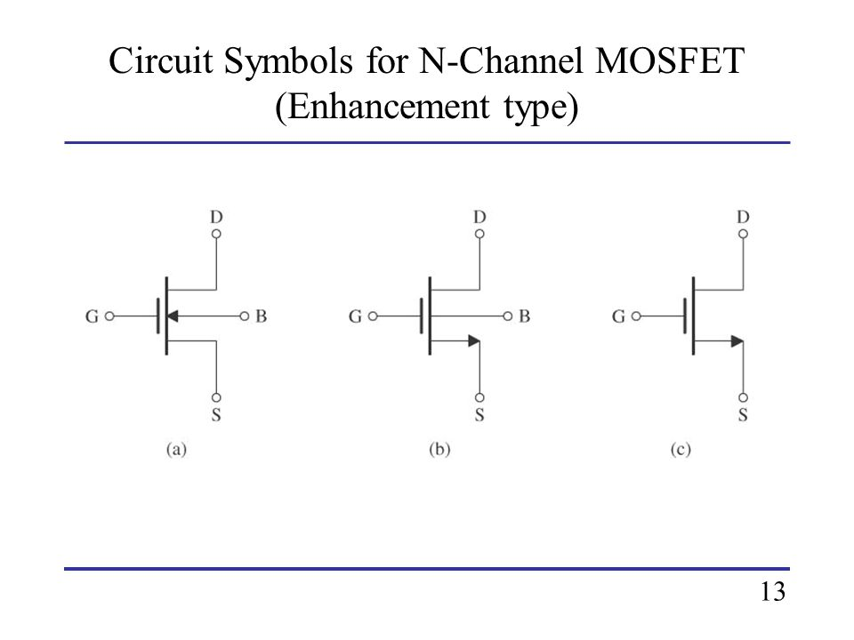 Circuit Symbols for N-Channel MOSFET (Enhancement type) 13