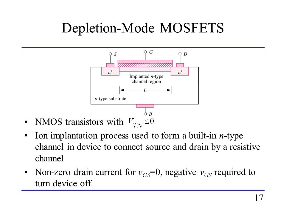 Depletion-Mode MOSFETS NMOS transistors with Ion implantation process used to form a built-in n-type channel in device to connect source and drain by