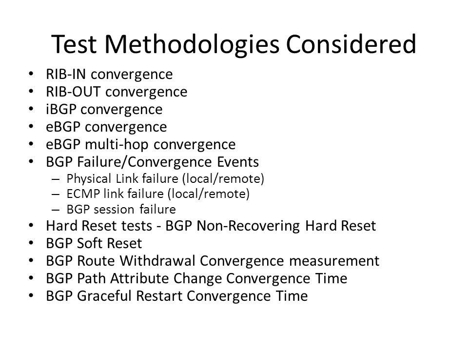 Test Methodologies Considered RIB-IN convergence RIB-OUT convergence iBGP convergence eBGP convergence eBGP multi-hop convergence BGP Failure/Converge