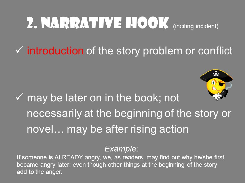 introduction of the story problem or conflict may be later on in the book; not necessarily at the beginning of the story or novel… may be after rising