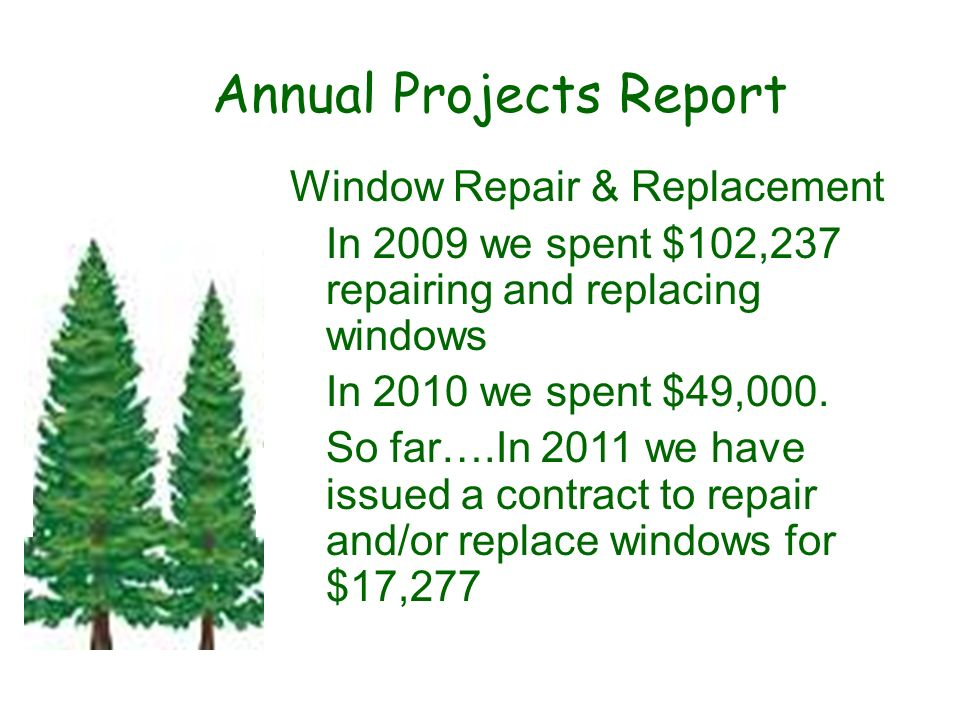 Annual Projects Report Window Repair & Replacement In 2009 we spent $102,237 repairing and replacing windows In 2010 we spent $49,000. So far….In 2011