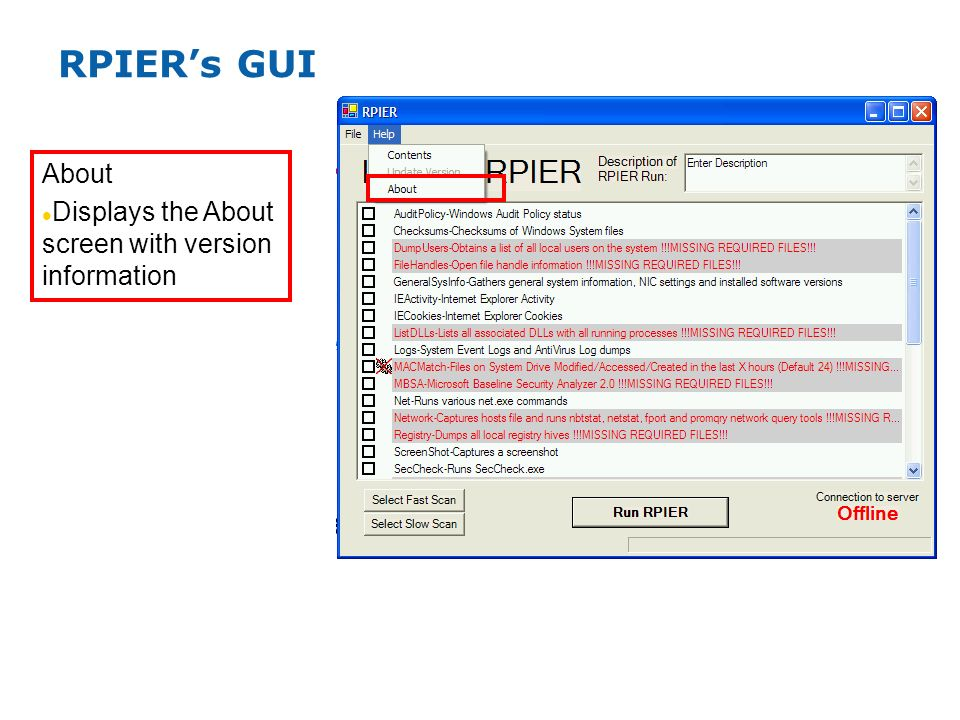 RPIERs GUI About Displays the About screen with version information