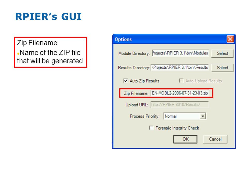 RPIERs GUI Zip Filename Name of the ZIP file that will be generated