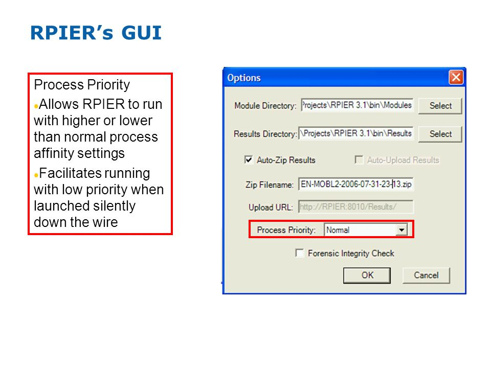 RPIERs GUI Process Priority Allows RPIER to run with higher or lower than normal process affinity settings Facilitates running with low priority when