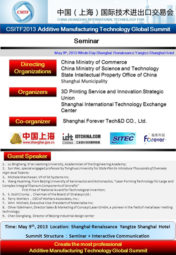 CSITF2013 Additive Manufacturing Technology Global Summit Background of the Summit By far, China has become one of the most important and fastest growing markets of Rapid Prototyping, with about 30% of the installed systems in Asia-Pacific region (9% globally), ranking only after USA, Japan and Germany.