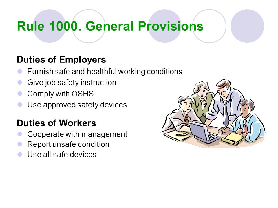 Duties of Employers Furnish safe and healthful working conditions Give job safety instruction Comply with OSHS Use approved safety devices Duties of W