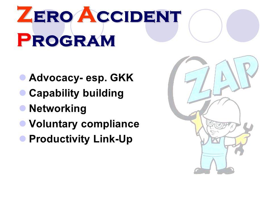 Z ero A ccident Program Advocacy- esp. GKK Capability building Networking Voluntary compliance Productivity Link-Up
