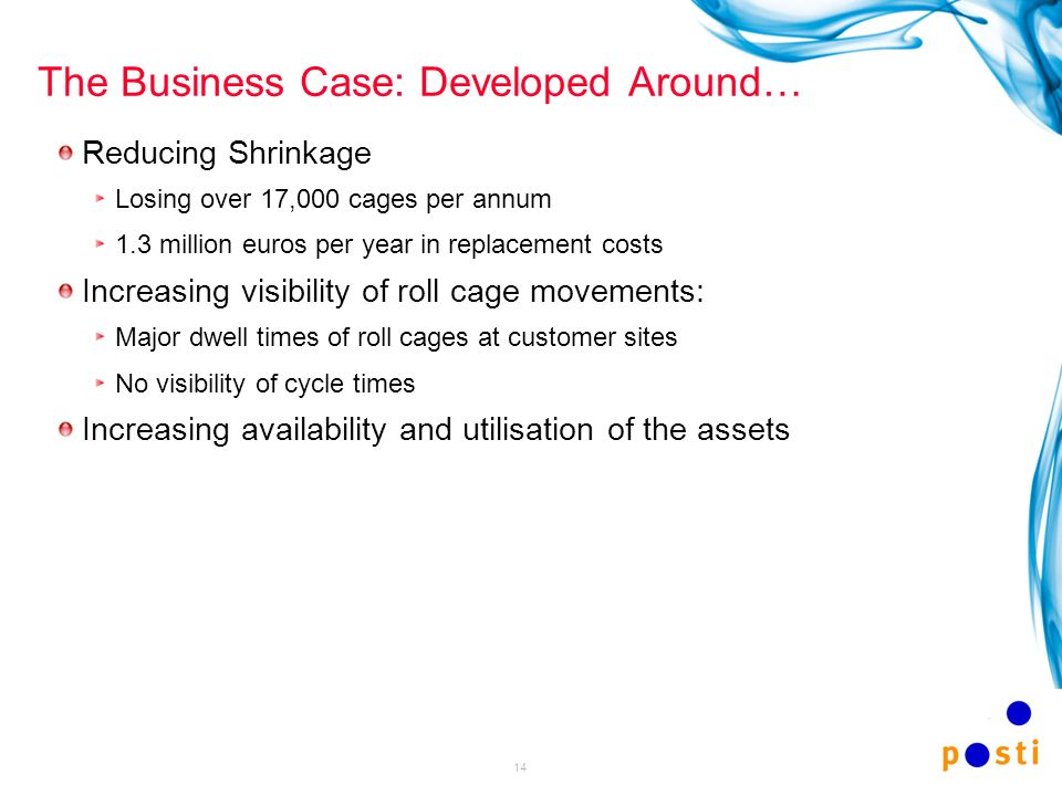 14 The Business Case: Developed Around… Reducing Shrinkage Losing over 17,000 cages per annum 1.3 million euros per year in replacement costs Increasi