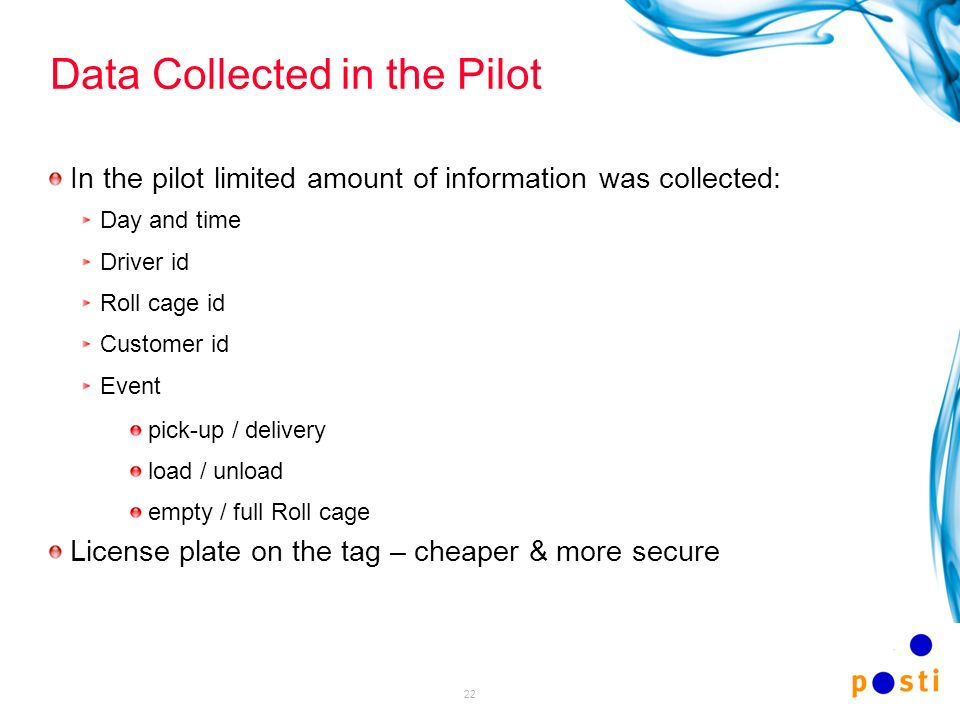 22 Data Collected in the Pilot In the pilot limited amount of information was collected: Day and time Driver id Roll cage id Customer id Event pick-up