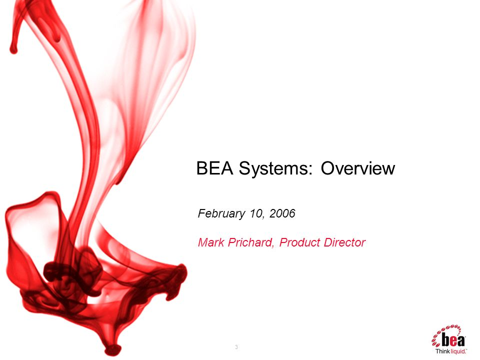 3 BEA Systems: Overview February 10, 2006 Mark Prichard, Product Director