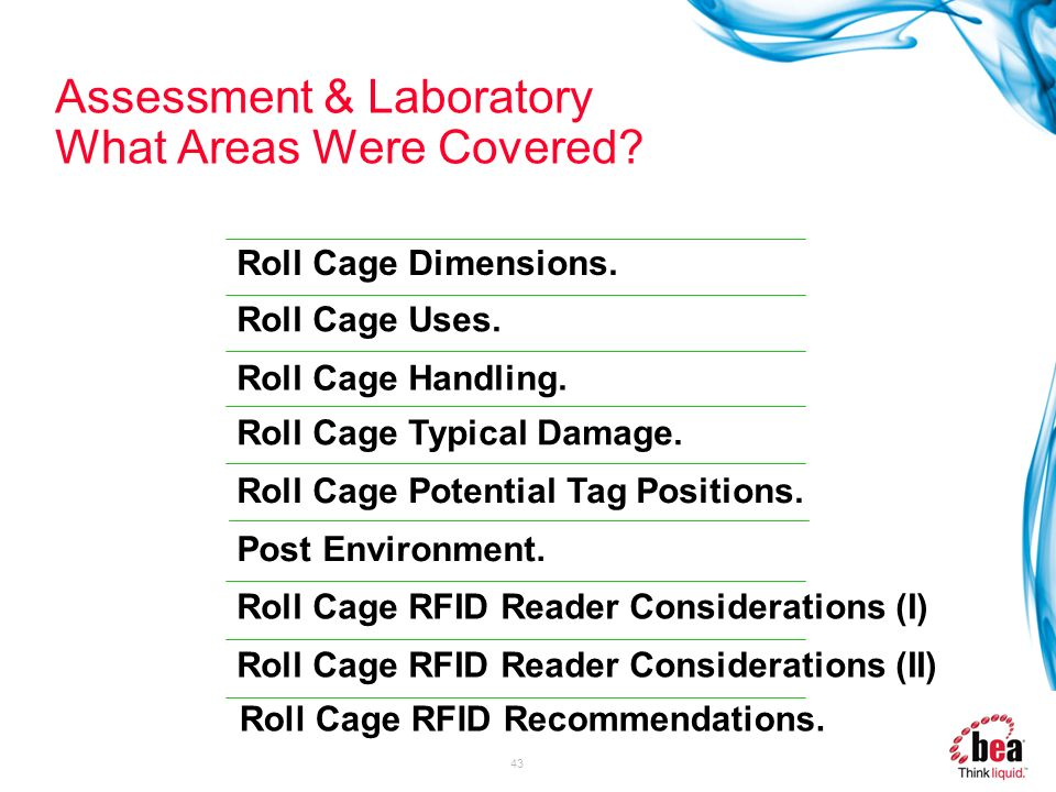 43 Assessment & Laboratory What Areas Were Covered? Roll Cage Uses. Roll Cage Dimensions. Roll Cage Handling. Roll Cage RFID Reader Considerations (I)