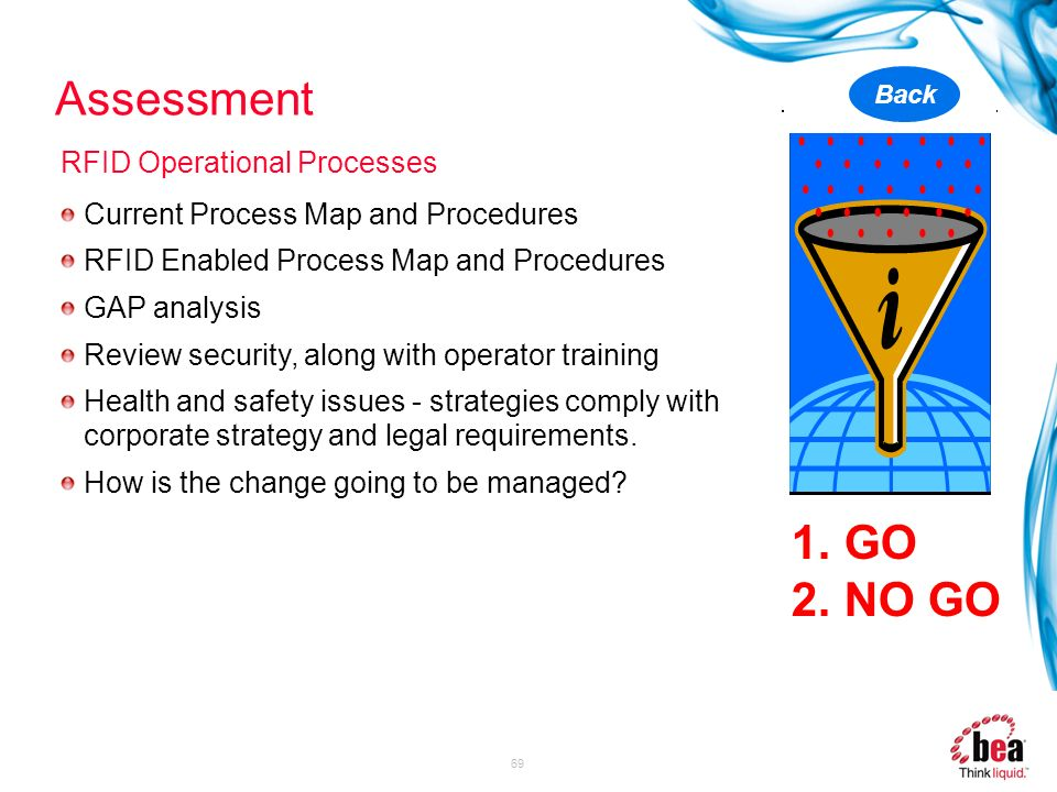 69 Current Process Map and Procedures RFID Enabled Process Map and Procedures GAP analysis Review security, along with operator training Health and sa