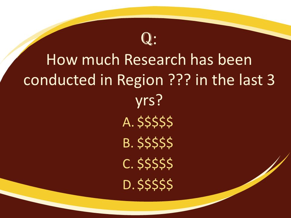 Q : How much Research has been conducted in Region .