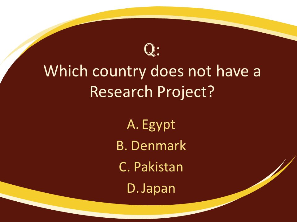Q : Which country does not have a Research Project? A.Egypt B.Denmark C.Pakistan D.Japan