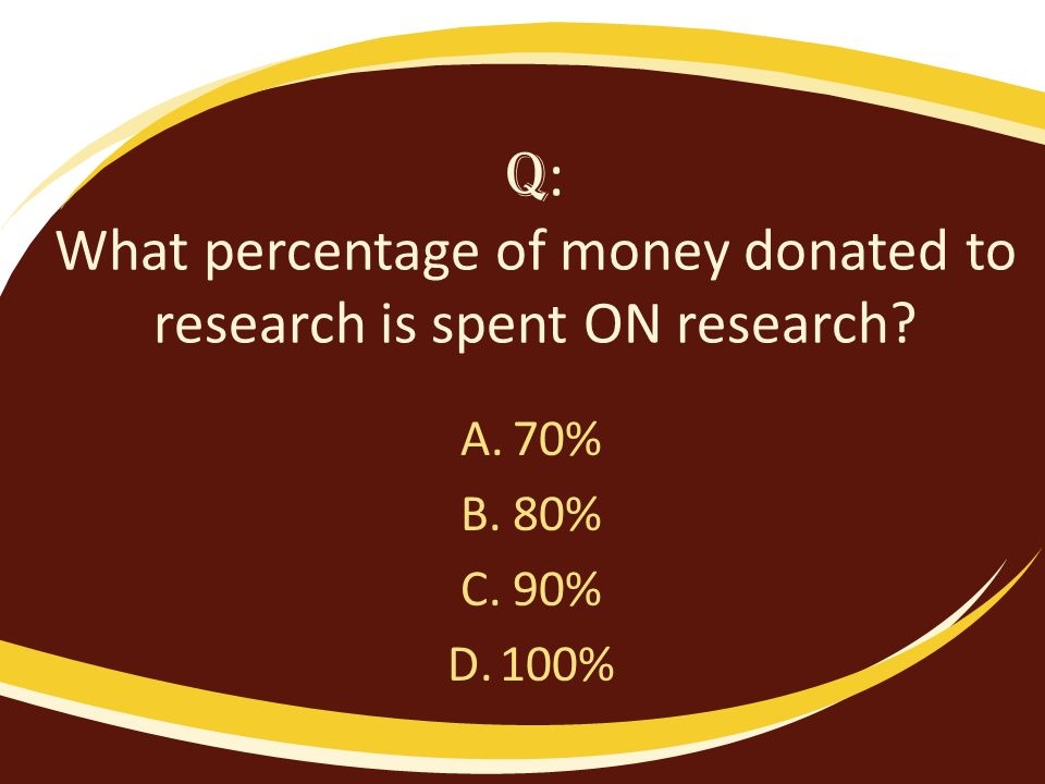Q : What percentage of money donated to research is spent ON research? A.70% B.80% C.90% D.100%