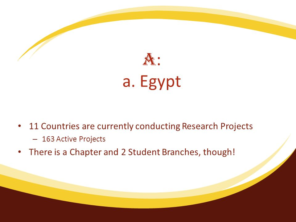 11 Countries are currently conducting Research Projects – 163 Active Projects There is a Chapter and 2 Student Branches, though.