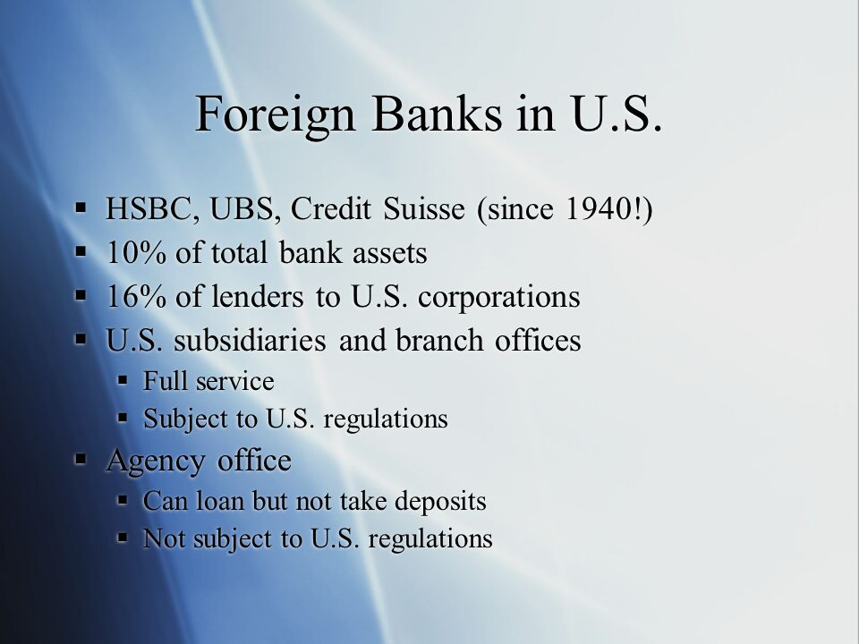 Foreign Banks in U.S. HSBC, UBS, Credit Suisse (since 1940!) 10% of total bank assets 16% of lenders to U.S. corporations U.S. subsidiaries and branch