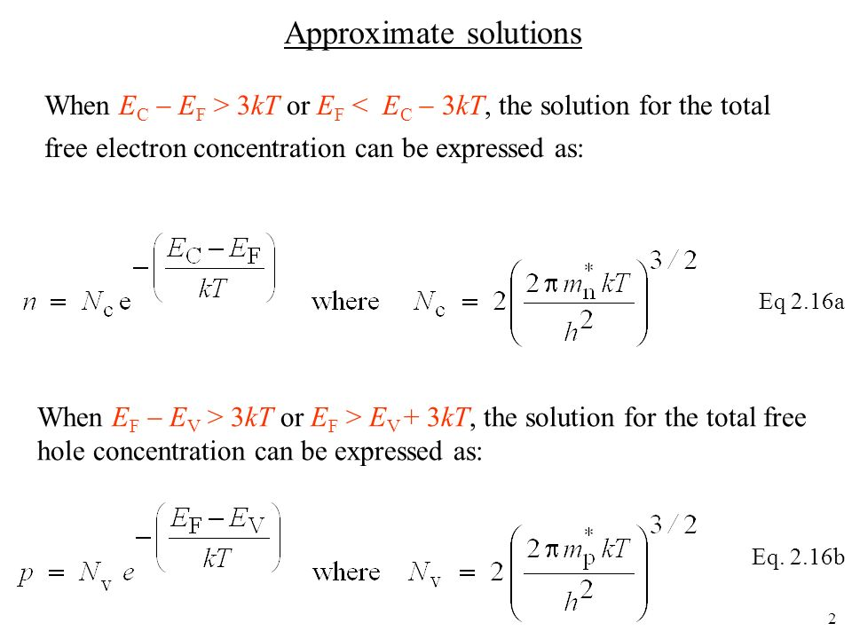 13 Equations to remember Note: Our interest was in determining n and p.