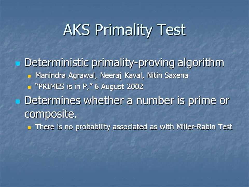 AKS Primality Test Deterministic primality-proving algorithm Deterministic primality-proving algorithm Manindra Agrawal, Neeraj Kaval, Nitin Saxena Ma