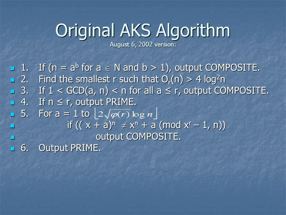 1.If (n = a b for a N and b > 1), output COMPOSITE. 1.If (n = a b for a N and b > 1), output COMPOSITE. 2.Find the smallest r such that O r (n) > 4 lo