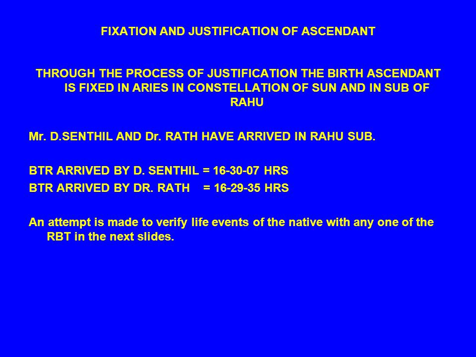 FIXATION AND JUSTIFICATION OF ASCENDANT THROUGH THE PROCESS OF JUSTIFICATION THE BIRTH ASCENDANT IS FIXED IN ARIES IN CONSTELLATION OF SUN AND IN SUB OF RAHU Mr.